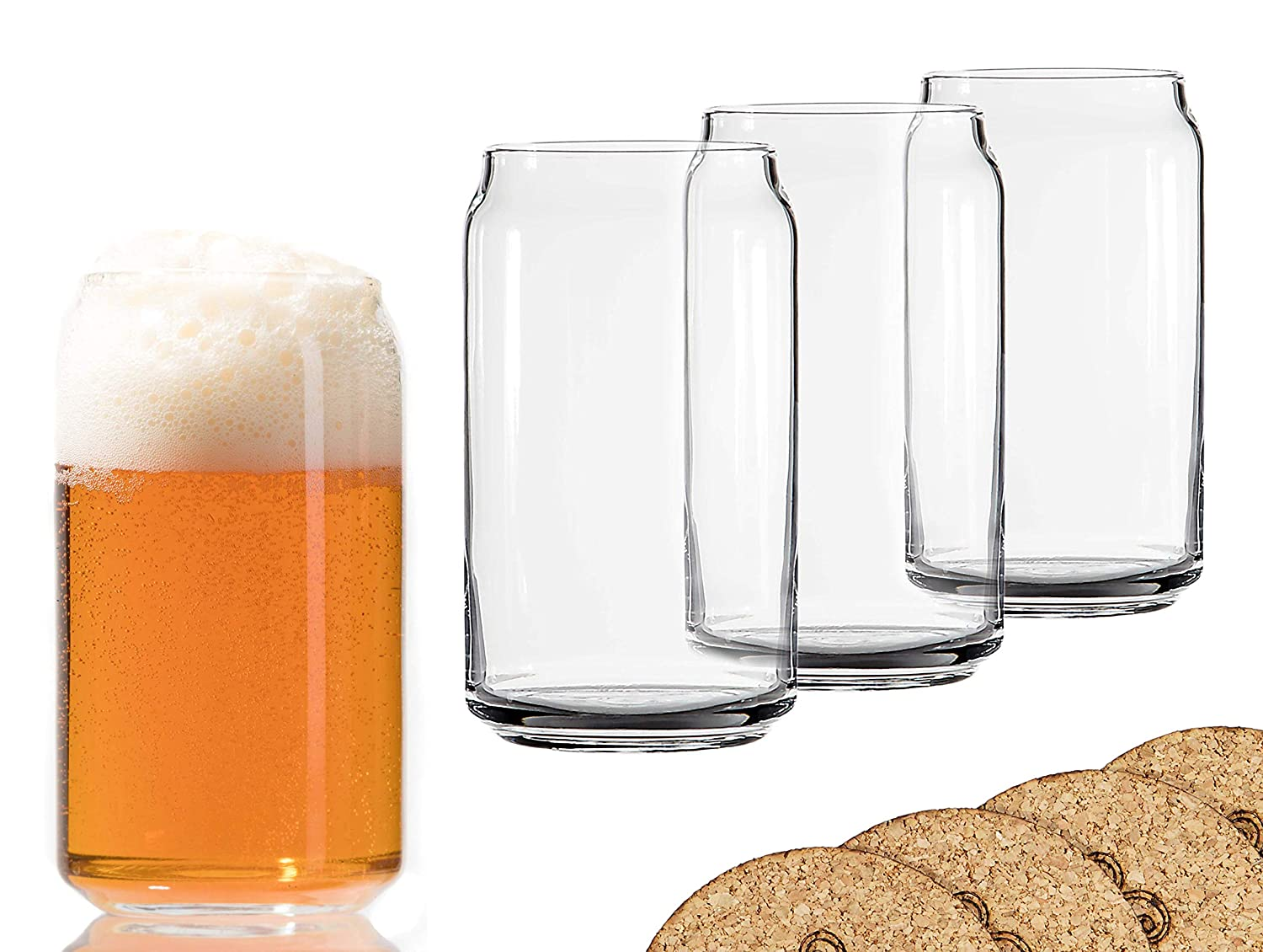 Ecodesign Drinkware Libbey Beer Glass Can Shaped 16 oz - Pint Beer Glasses 4 PACK w/coasters