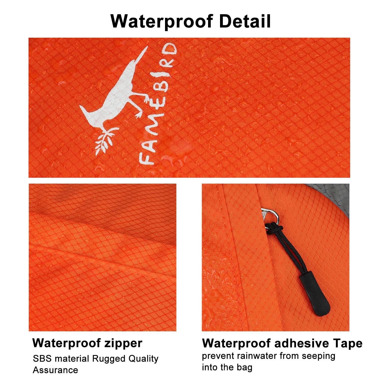Small 25L Hiking Backpack - Famebird Durable Packable Lightweight Water Resistant Travel Backpack Daypack for Kids Women Men (Orange)