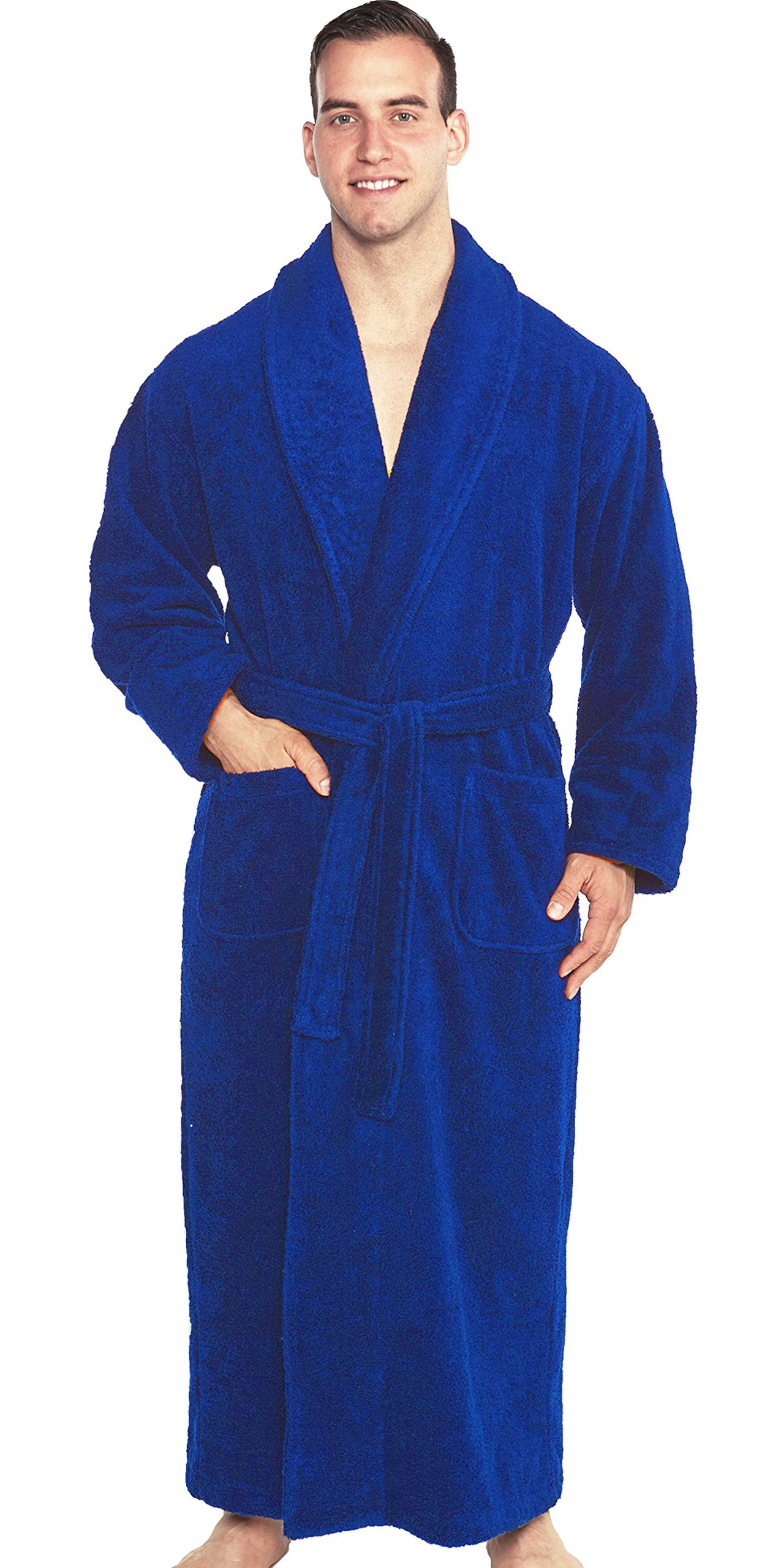 TurkishTowels Terry Bathrobe - Authentic Luxury You Can Feel - 100% Pure Combed Turkish Cotton Terry Cloth Robe for Men, Women & Teens (Royal Blue (Chiron), X-Large)