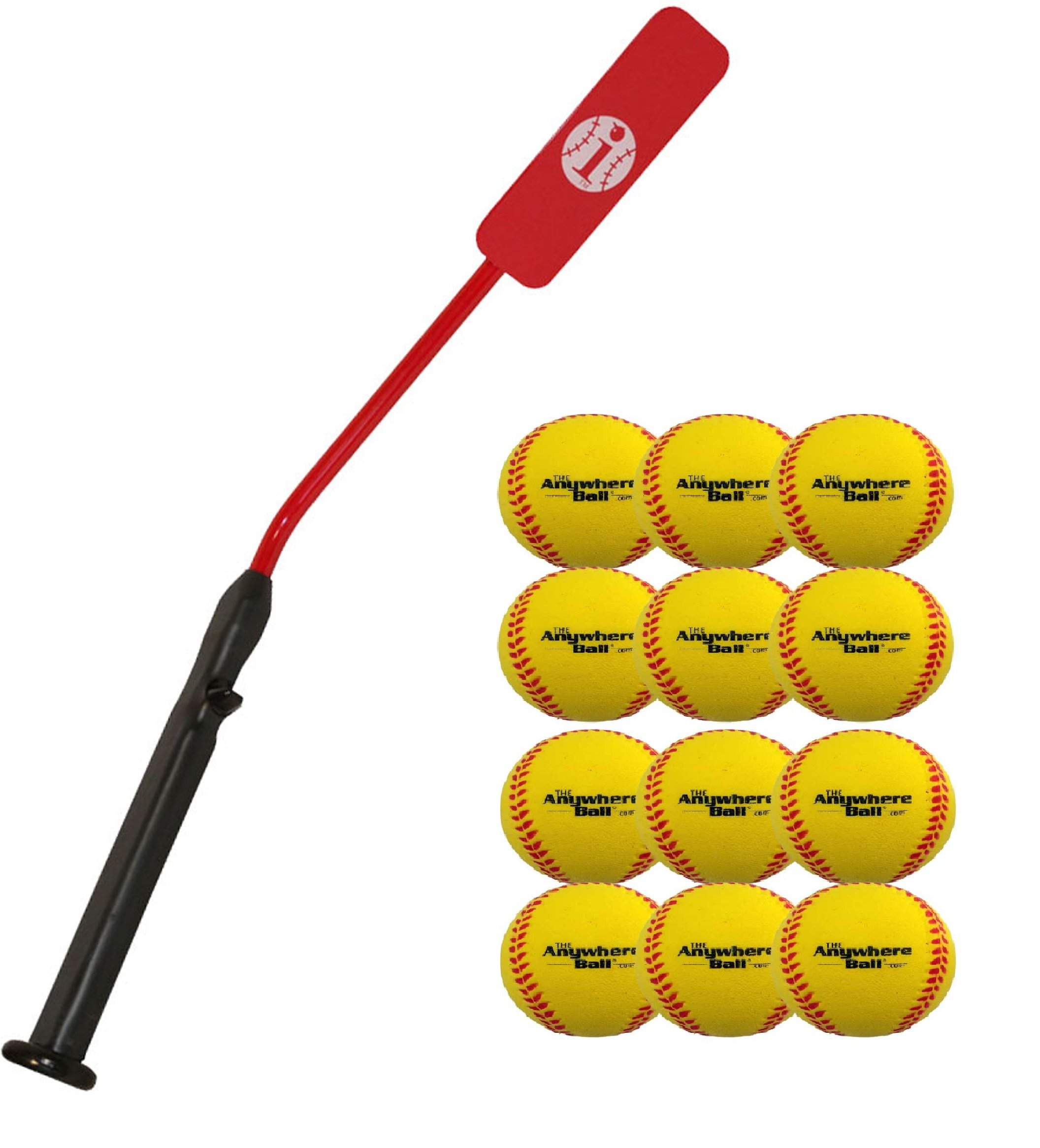 Insider Bat Size 6 and Anywhere Ball Complete Baseball Softball Batting Practice Kit (1 Bat & 12 Balls) by Mpo