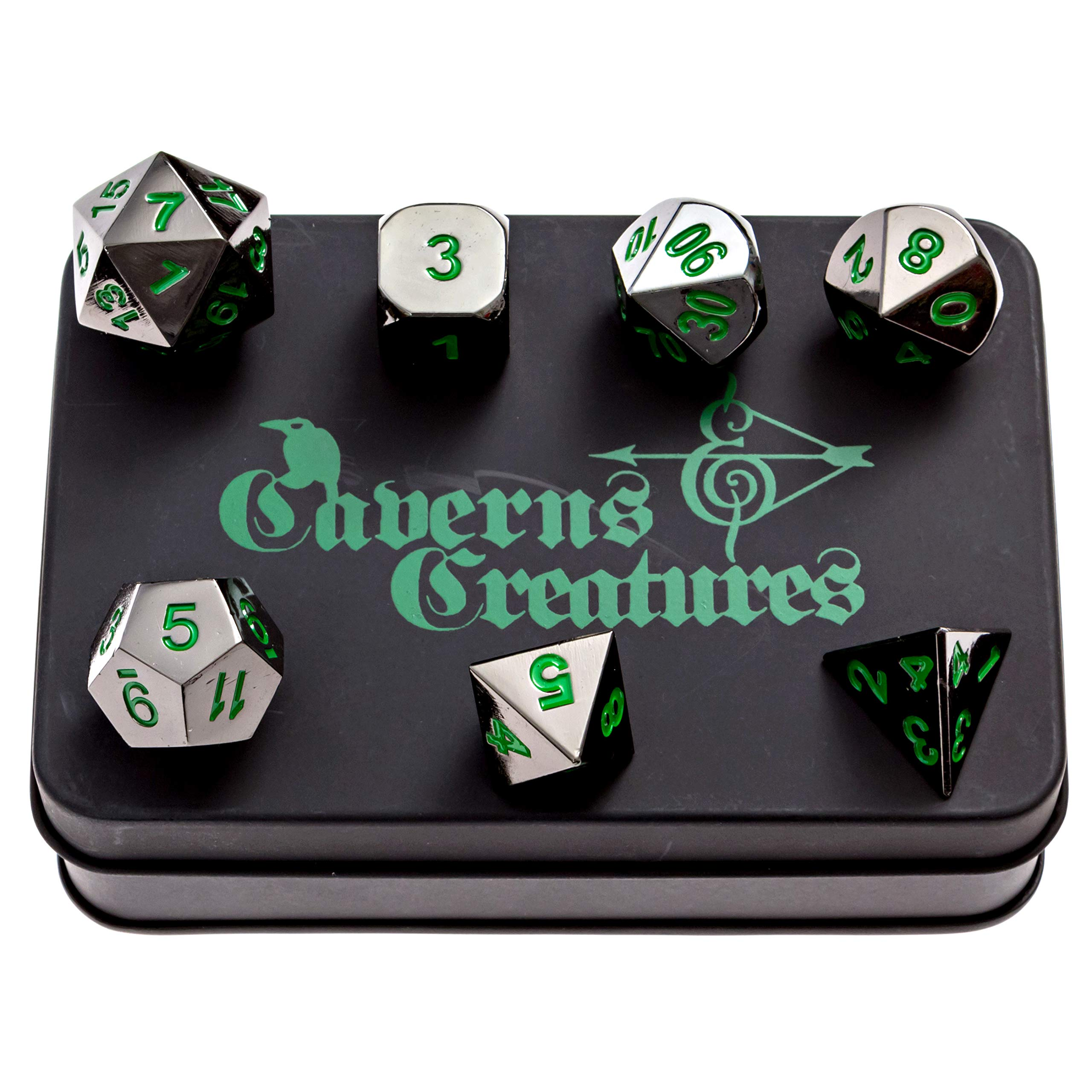 Caverns & Creatures Black Metal RPG Dice with Green Numbers in Stylish Tin Display Case