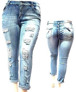 0a530fec6b9 JACK DAVID Womens Plus Size Blue Boyfriend Denim Jeans Ripped Distressed  Pants