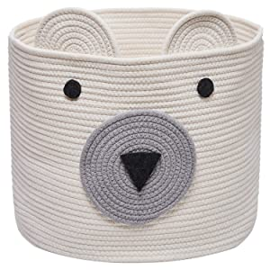 "COMEMORY Bear Basket, Toy Storage Bin, Cotton Rope Basket, Woven Laundry Hamper, Cute Storage Basket for Toys, Cloths in Bedroom, Nursery & Living Room, 12""(D) x 10""(H)"