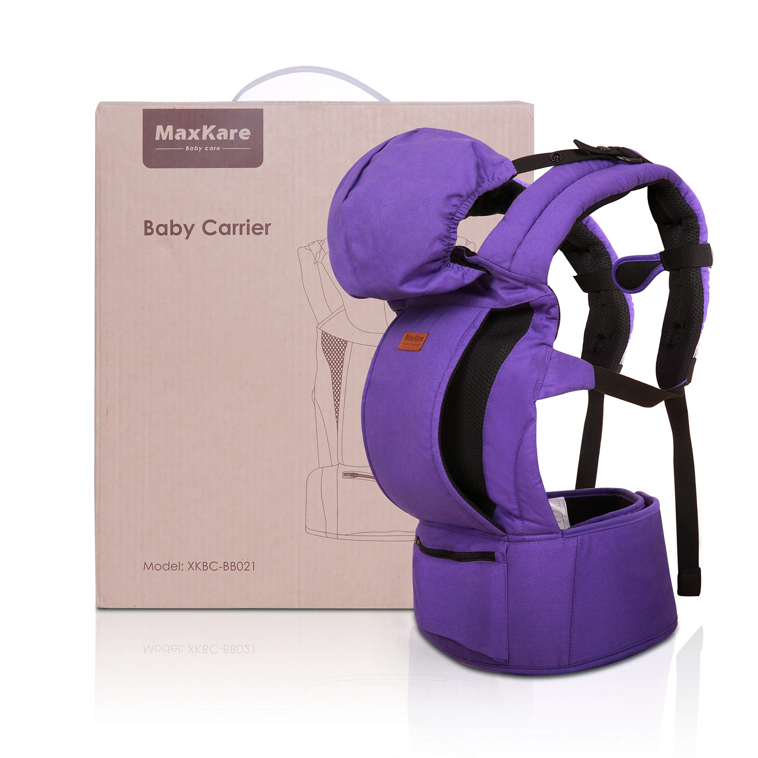 Baby Carrier Infant Toddler Baby Backpack 100% Cotton Ergonomic with Breathable Mesh Pockets and Hood