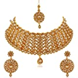 Apara LCT Gold-Plated Choker Bridal Necklace Jewellery Set for Women