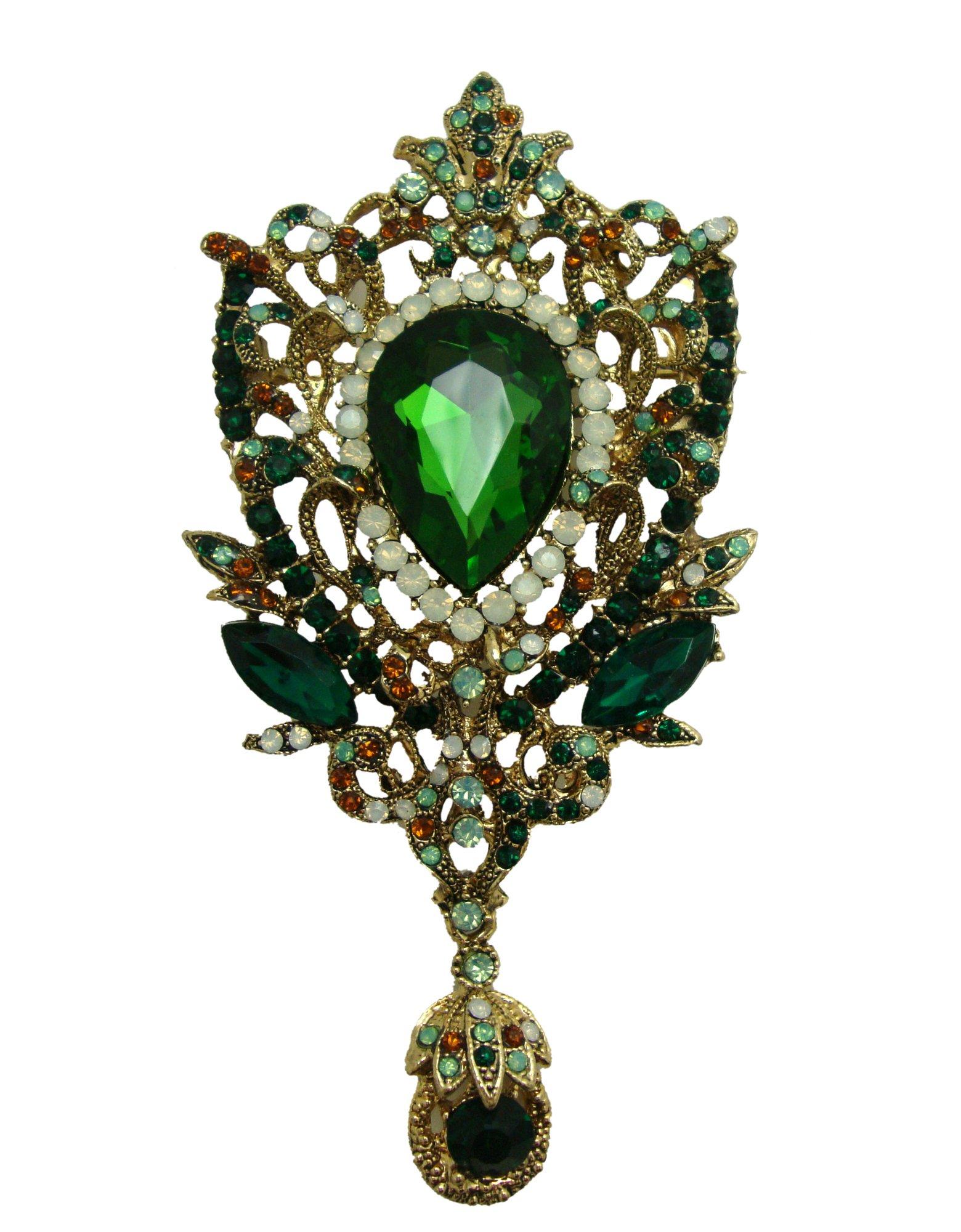 TTjewelry Fashion Gold-Tone Crown Flower Green Crystal Brooch Pendant (Green)