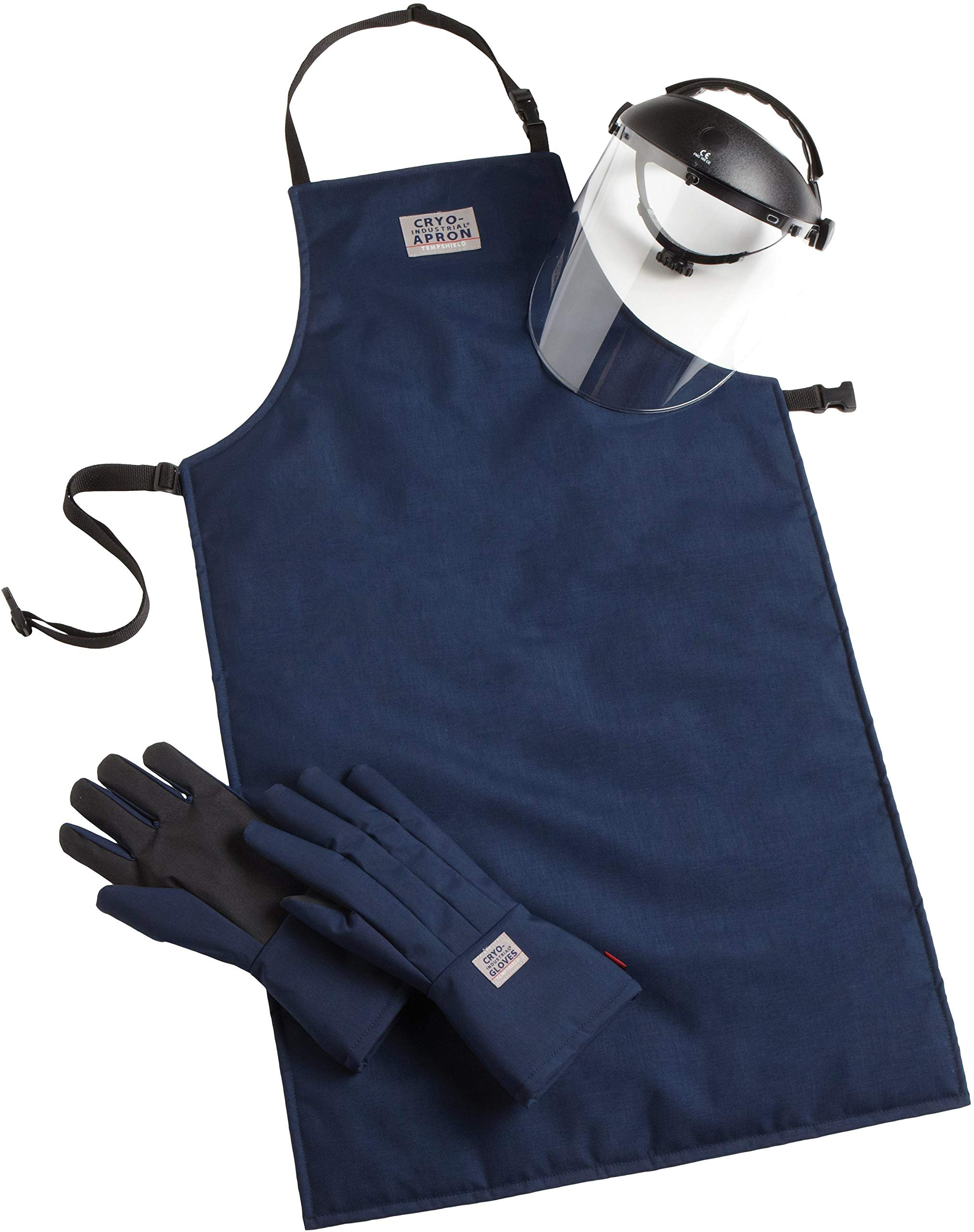 Cryo-Protection Safety Kit, Mid-Arm Cryo-Industrial Gloves, 42'' Cryo-Inustrial Apron, Cryo-Protection Face Shield (Extra Large)