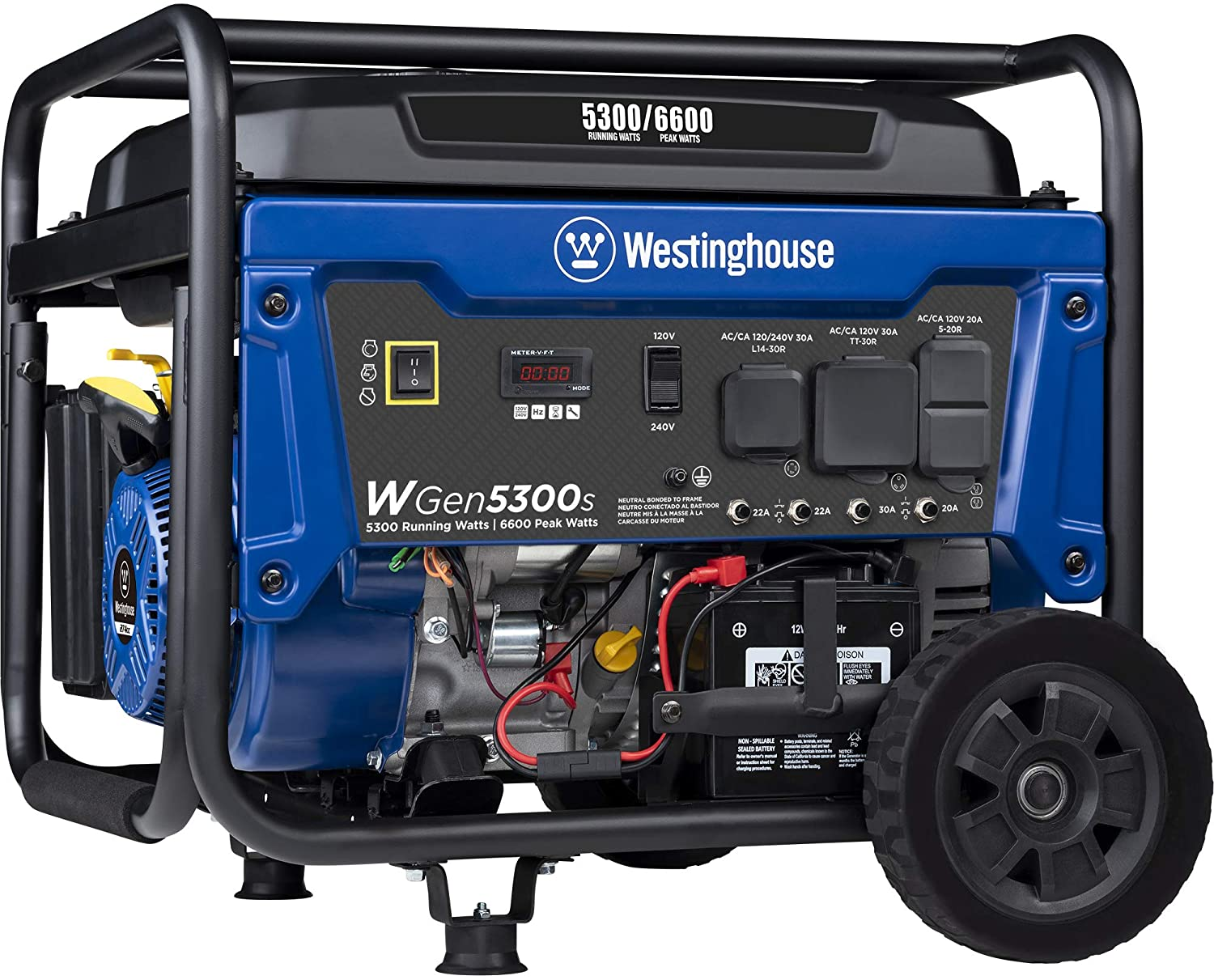 Westinghouse WGen5300s Storm Portable Generator with Electric Start and 120/240 Volt Selector 5300 Rated 6600 Peak Watts Gas Powered, CARB Compliant, RV and Transfer Switch Ready