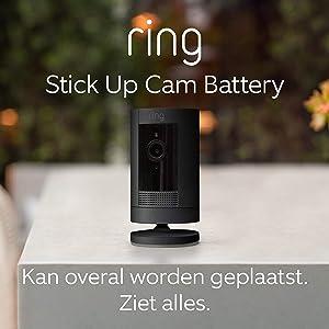 Ring Stick Up Cam Battery van Amazon, HD-beveiligingscamera met tweeweg-audio   Inclusief proefabonnement van 30 dagen op Ring Protect Plus   Zwart