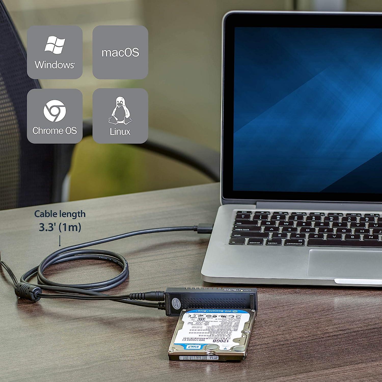 10Gbps - UASP StarTech.com USB312SAT3 Adaptador Color Negro USB 3.1 Cable SATA a USB