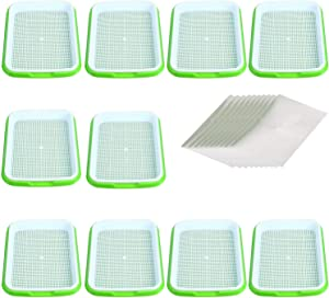 Seed Sprouter Tray Seed Germination Tray BPA Free Nursery Tray for Seedling Planting Suit for Garden Home Office (32cm25cm4.5cm-10pcs Without lid)
