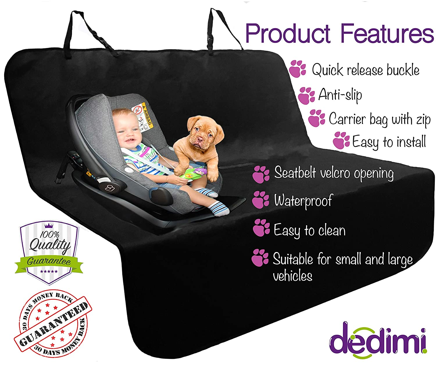 Dedimi Dog Car Seat Covers Pet Cover Backseat Rear Protector black Accessories for Pets Kids Waterproof Durable Nonslip Scratch Proof Washable for Small Cars Caravans Trucks SUV