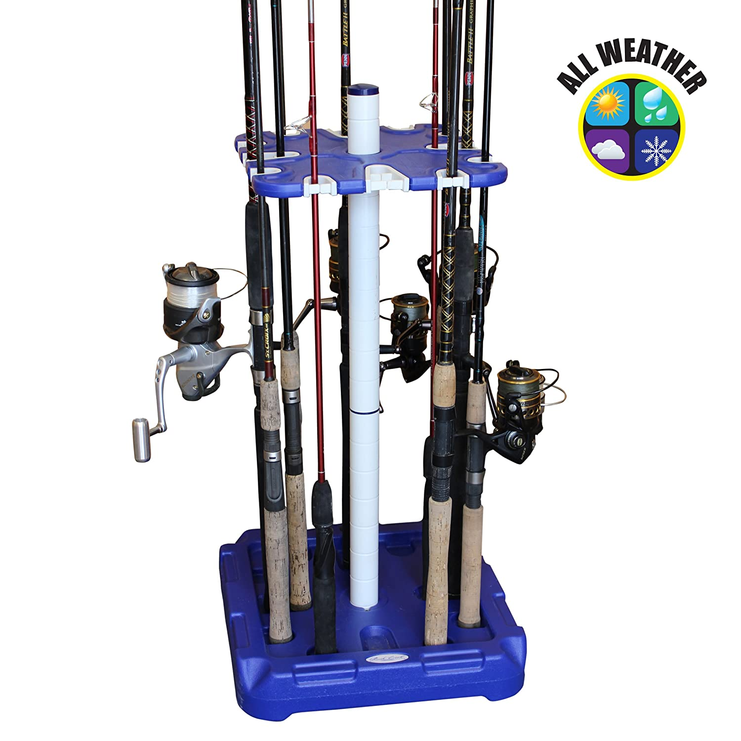 Rush Creek Creations All-Weather 16 Rod Storage Rack – 3 Minute Assembly – Featured in 2018 Fishing Tackle Retailer Magazine Innovative Rod Storage
