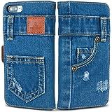 「UK Trident」本格デニム iPhone7 PLUS / iPhone8 PLUS 兼用 手帳型アイフォンケース
