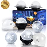 Unique Ice Ball Maker Sphere Mold - 4 Pack - Round Ice Cube Molds - Make Large 2.5-inch Ice Cube Balls - Lightweight, Flexible & Durable Spherical Silicone Ice Tray