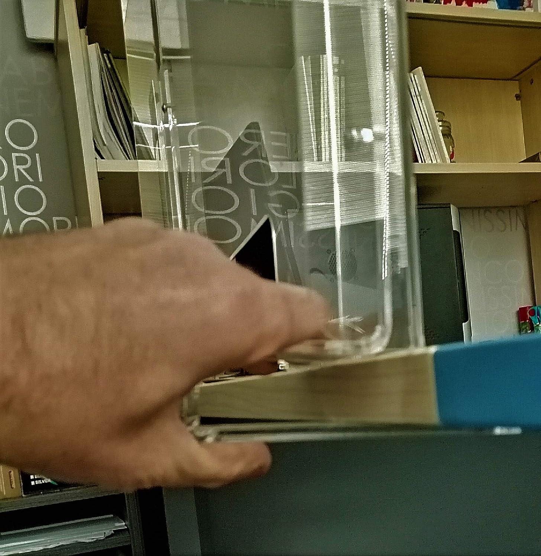 Spessore 25 mm Misura L.80x H.60 cm con Foro PASSACARTE l.30xh10 cm Fimel barriera Protettiva Antibatterica,Schermo Protettivo Antibatterico per scivania o Desk con Piano
