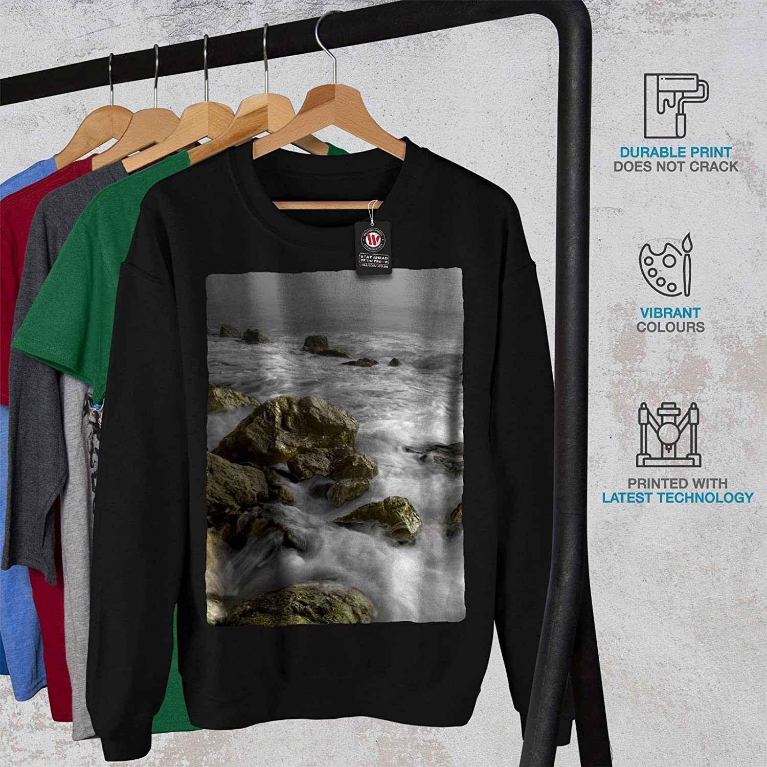 Ocean Casual Jumper wellcoda Rock Wild Sea Art Mens Sweatshirt