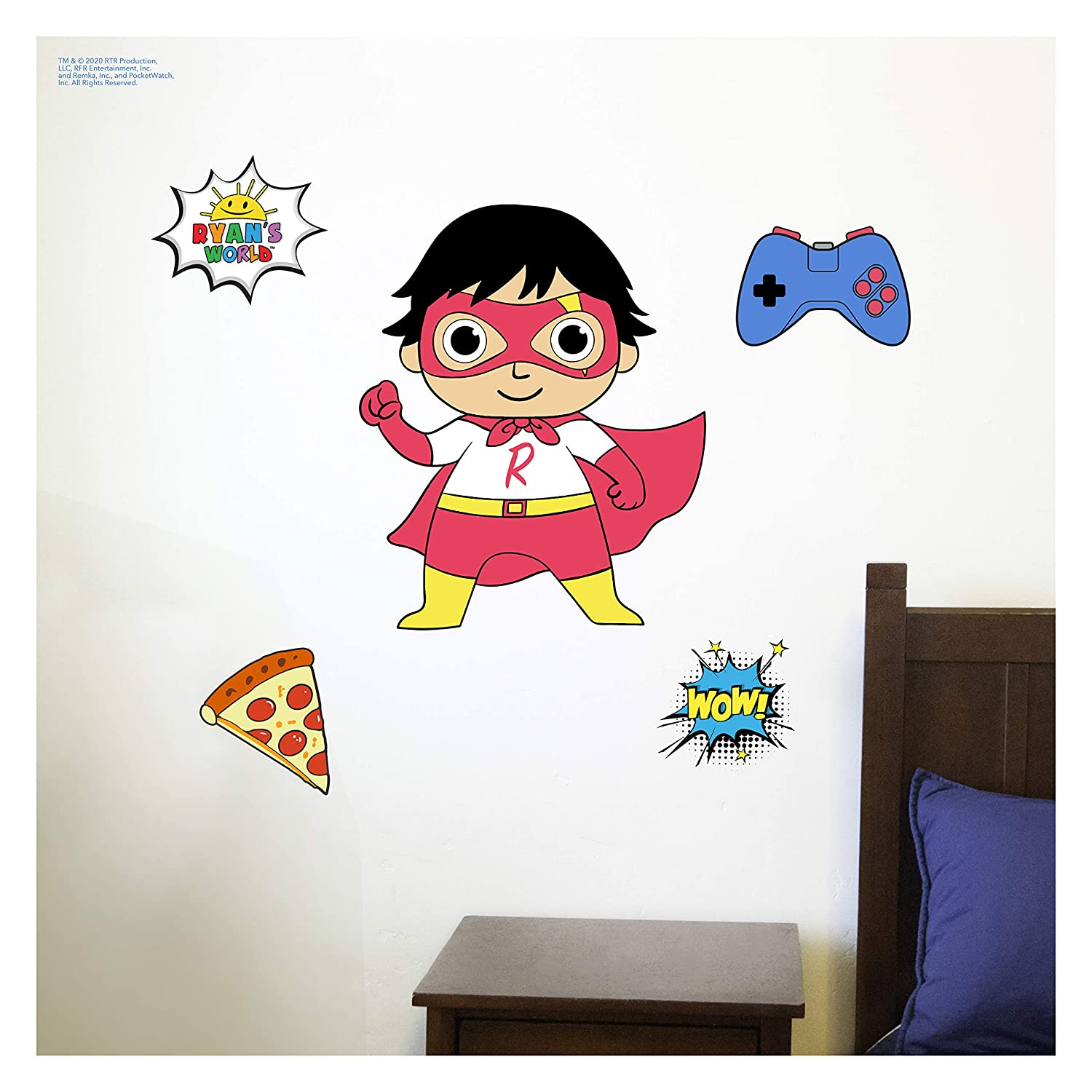Ryan's World Wall Decals - The Red Titan Wall Stickers with 3D Augmented Reality Interaction - Ryans World Bedroom Decor