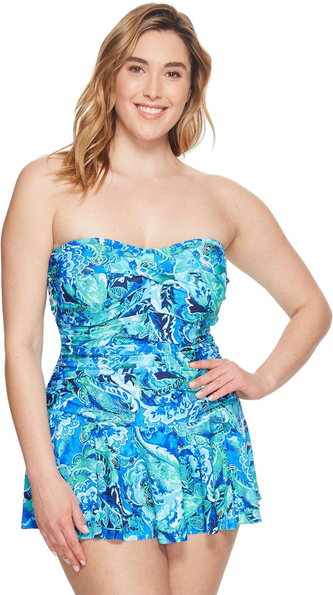 LAUREN Ralph Lauren Women's Plus Size Exotic Skirted One-Piece Blue 16 W