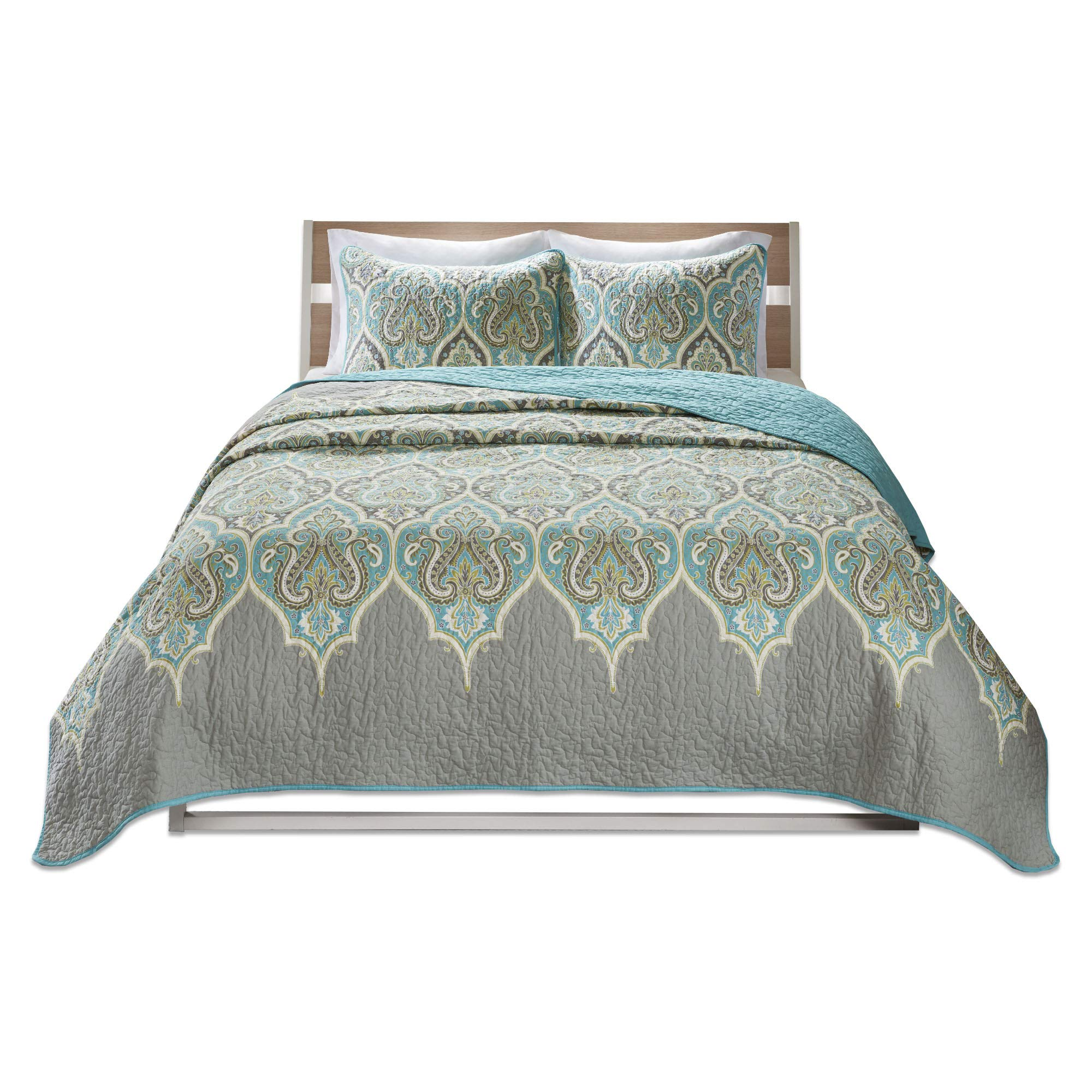 Comfort Spaces - Mona Cotton Mini Quilt Set - 3 Piece - Paisley Pattern - Teal Grey - King/California King Size, Includes 1 Quilt, 2 Shams