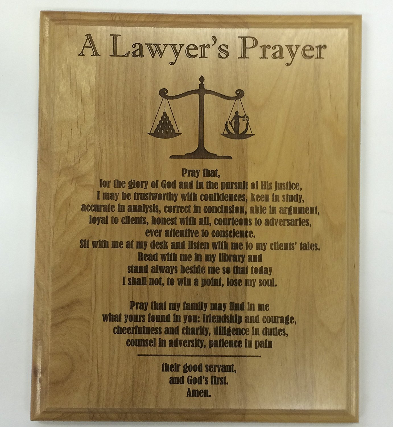 A Lawyer's Prayer Engraved on 8 By 10 Red Alder with Balance image, with Lady Justice