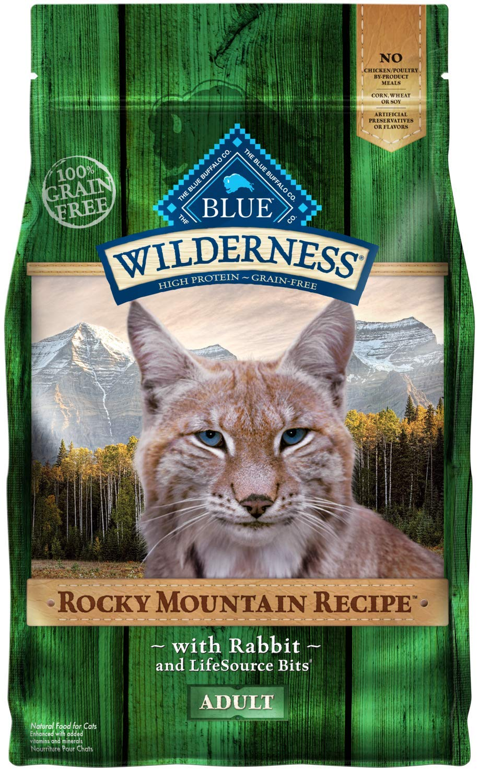 4 lb bluee Buffalo Wilderness Rocky Mountain Recipe High Predein Grain Free, Natural Adult Dry Cat Food, Rabbit 4-Lb