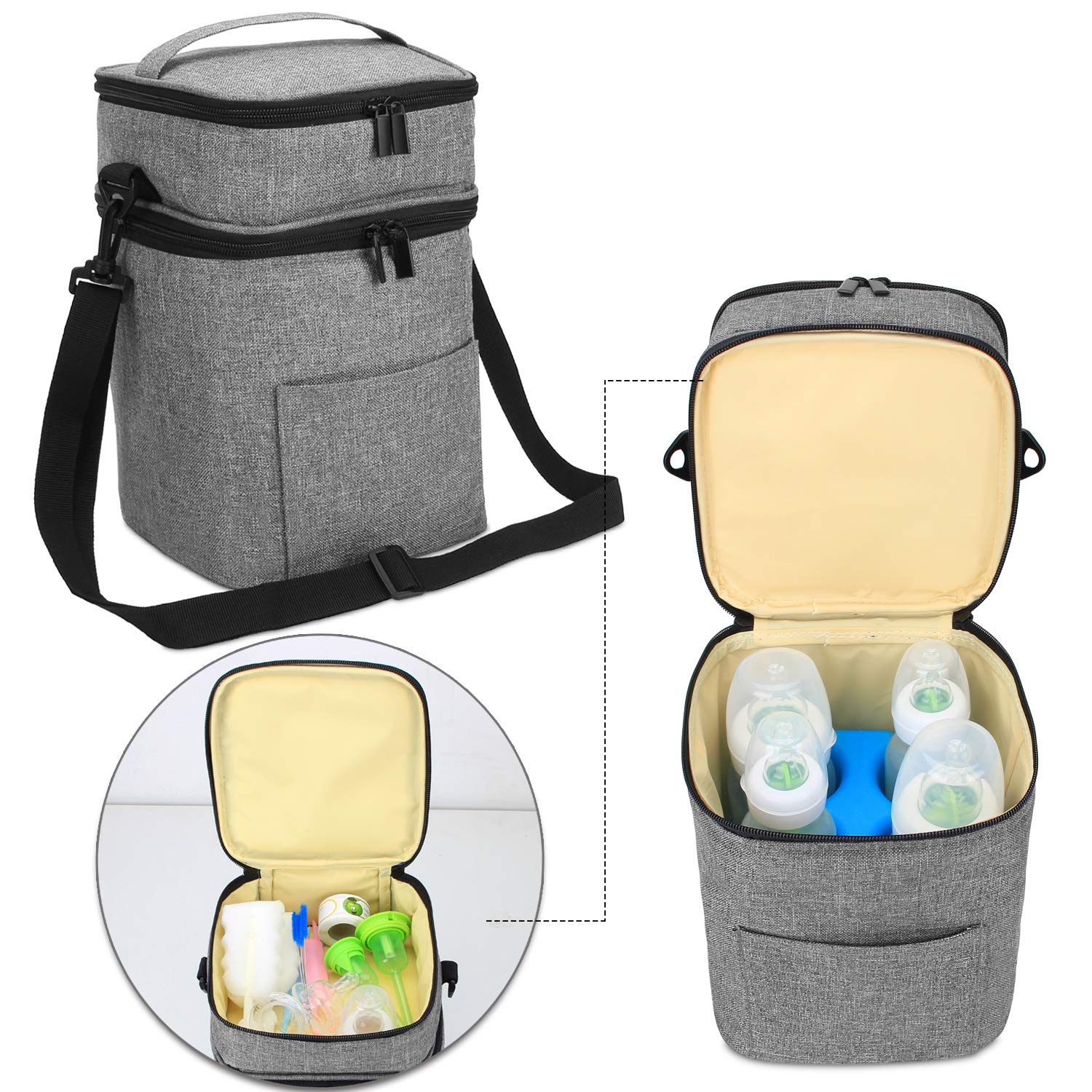 Luxja Double-Layer Breastmilk Cooler Bag (Fits 4 Bottles, Up to 9 Ounce), Breastmilk Cooler for Breastmilk Bottles and Accessories (Bag Only), Gray by LUXJA