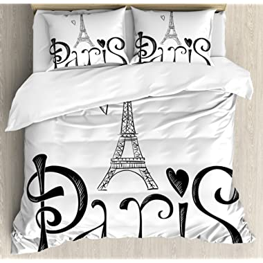 Paris City Decor King Size Duvet Cover Set by Ambesonne, Illustration with Eiffel Tower France Heart Shapes Silhouette Decorative Vacation Art, Decorative 3 Piece Bedding Set with 2 Pillow Shams