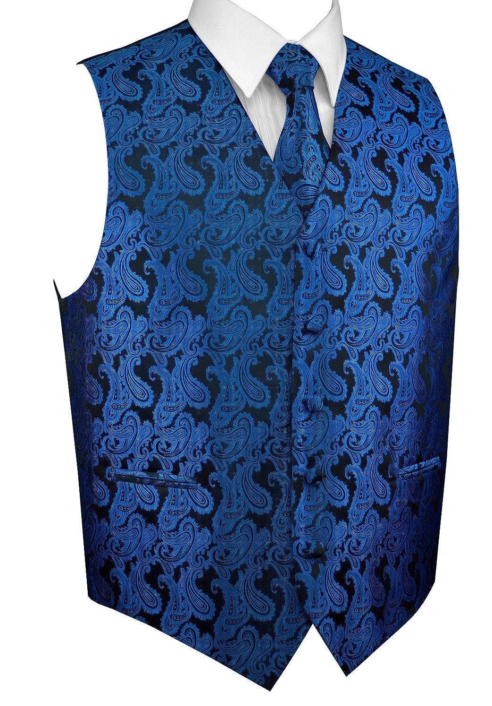 Tie /& Hankie in Royal Blue Paisley Brand Q Mens Formal Prom Wedding Tuxedo Vest