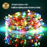 Fairy Lights LED String Lights Outdoor 33ft 100LED Copper Wire Battery Powered with Remote Control Decorative Lights for Bedroom, Patio, Garden, Gate, Yard, Parties, Wedding (Multicolor)
