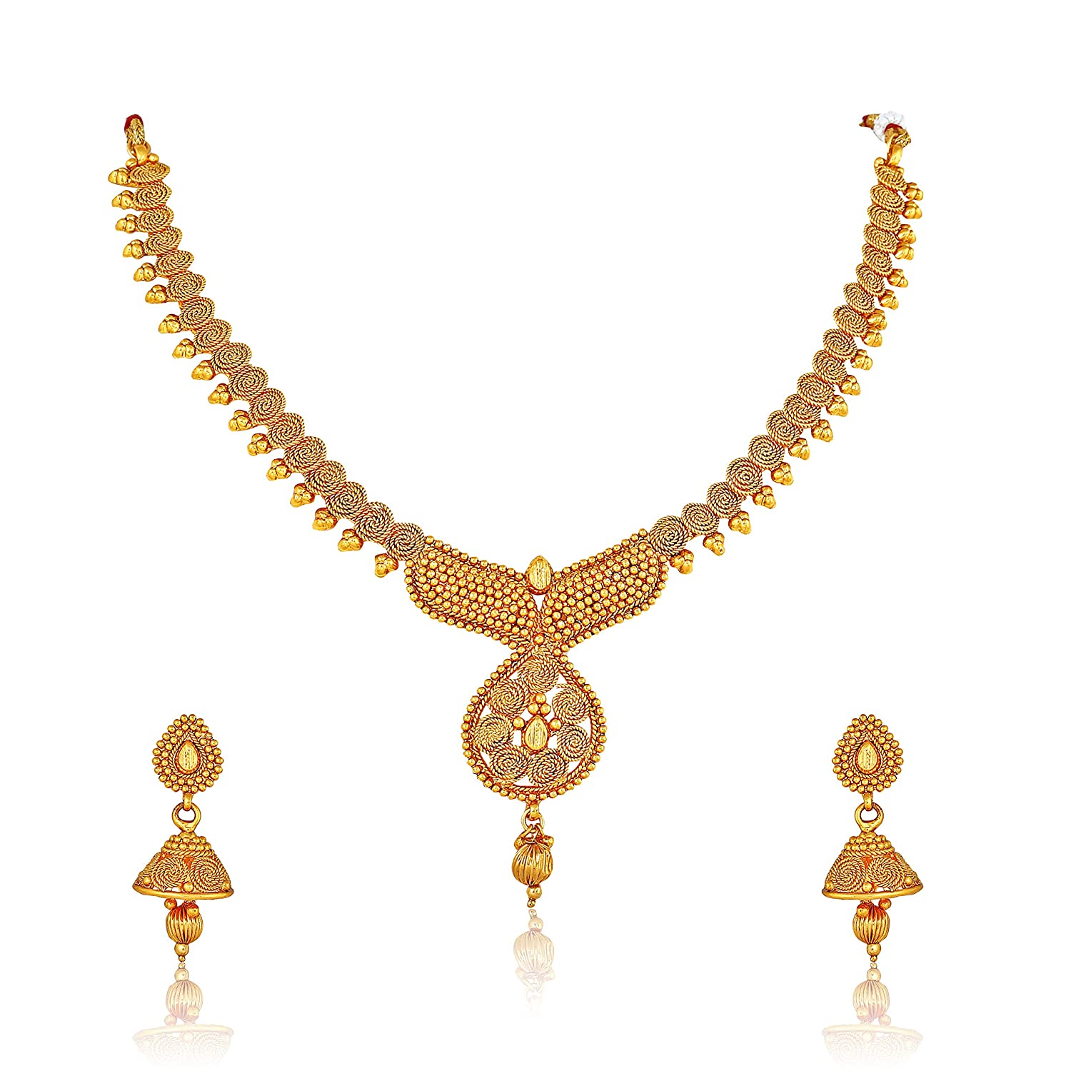 Ethnic South Indian Bridal Jewelry Traditional Pearl Necklace Earrings Tikka Set New Varieties Are Introduced One After Another Sets