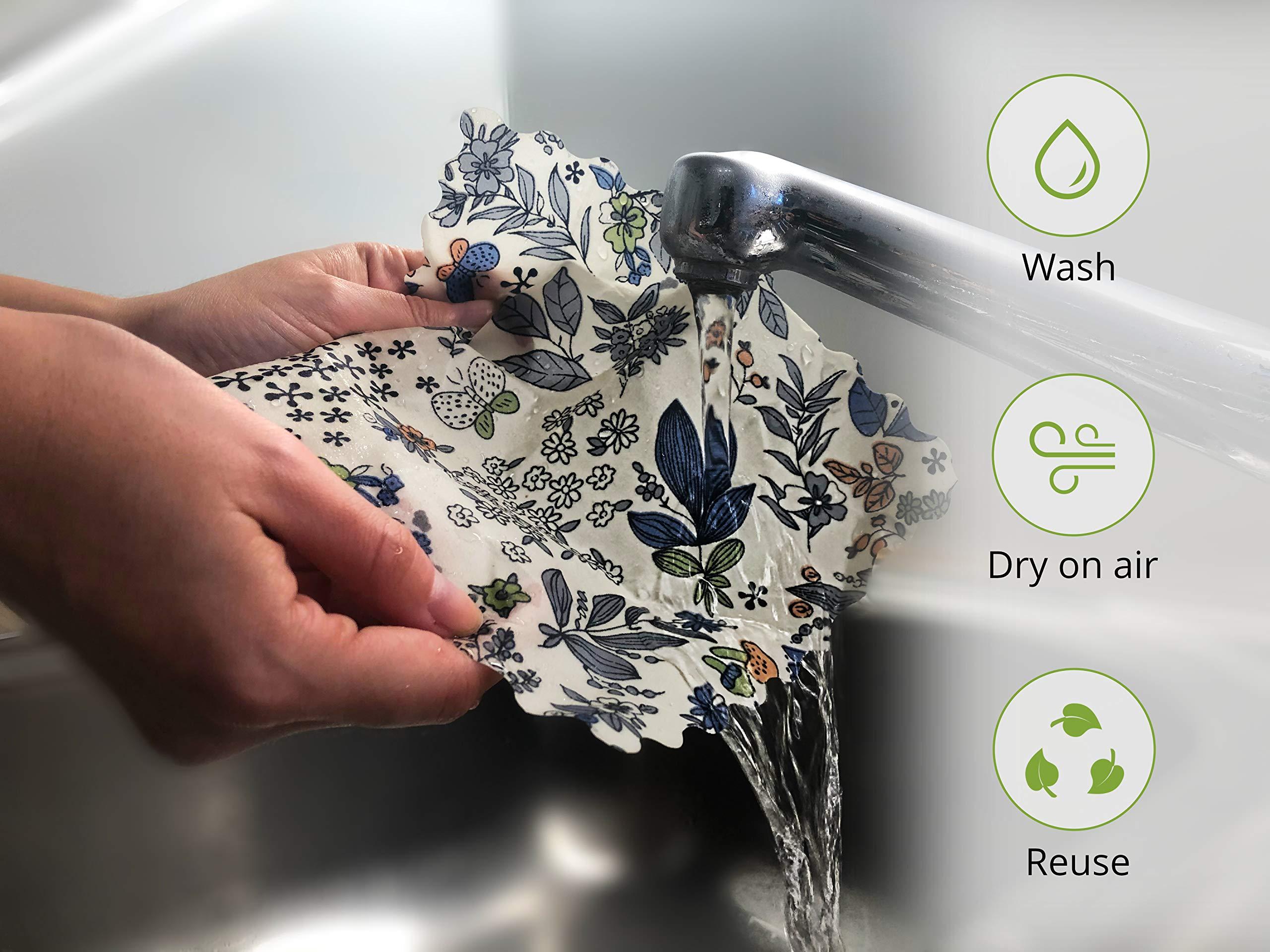 Ecolly® Toallitas de Cera de Abejas I Papel de Cera de Abejas I Premium Beeswax Wraps I Sin plástico y Reutilizable I Juego de 3 (S, M, L)