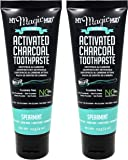 My Magic Mud Activated Charcoal Whitening Toothpaste Spearmint (Pack of 2) With Bentonite Clay, Coconut Oil, Activated Charcoal, Spearmint Oil, Sweet Orange Oil, and Tea Tree Oil, 4 oz. Each