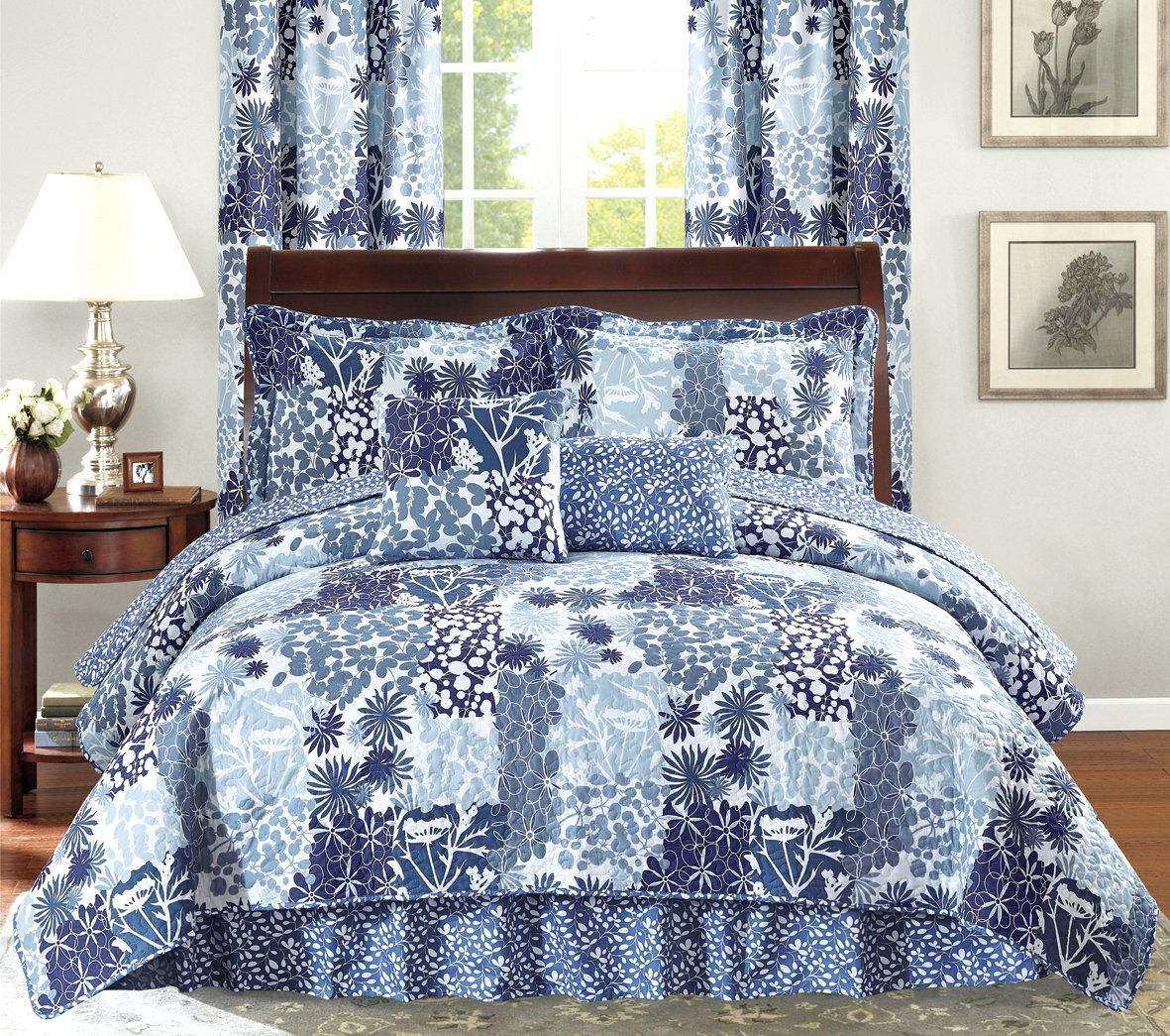 All American Collection New 6pc Printed Reversible Bedspread Set with Dust Ruffle KING 6PC, NAVY BLUE/ LIGHT BLUE