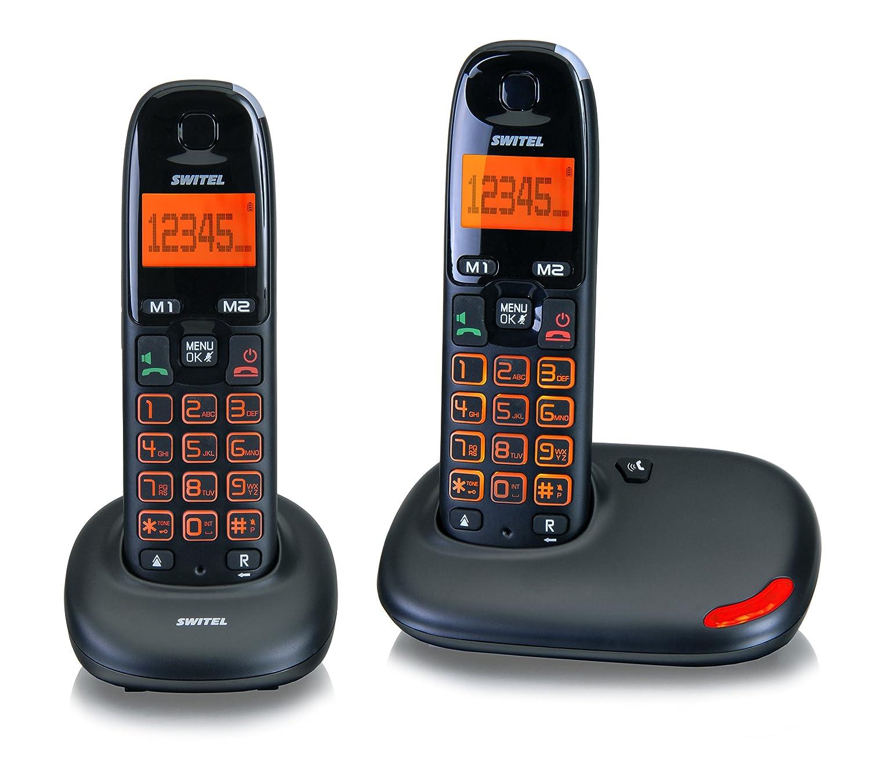 Switel SWIDC5002VITABK Té lé phone sans Fil DECT avec Base/2 Combiné s Grosse Touche Noir DC5002 VITA