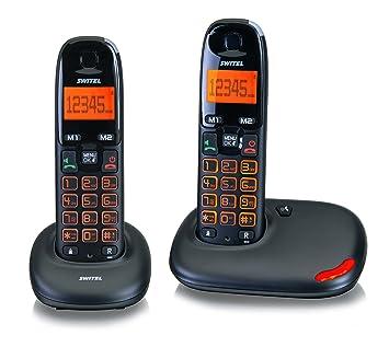 Switel SWIDC5002VITABK Téléphone sans Fil DECT avec Base 2 Combinés Grosse  Touche Noir af93de0e654f