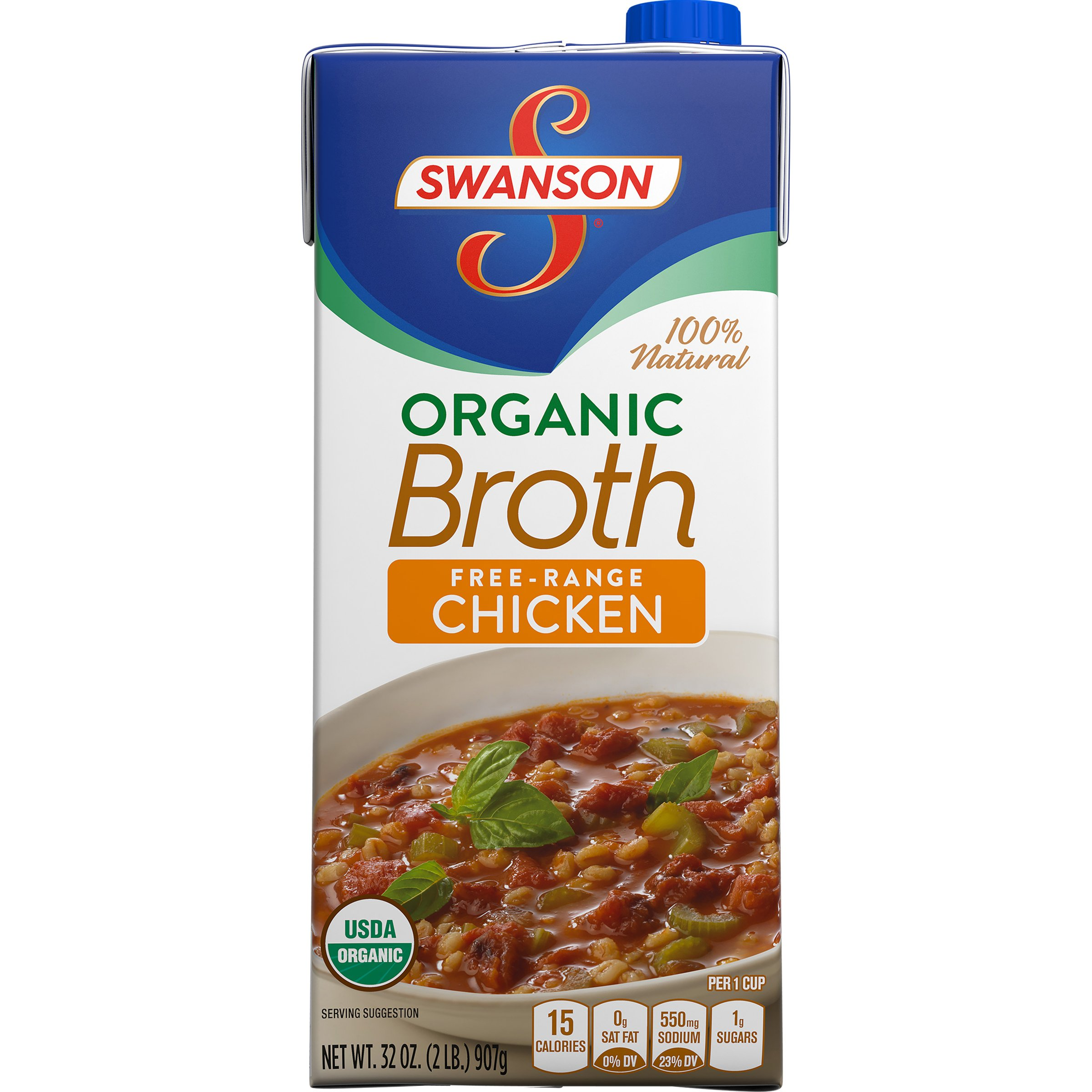 Swanson Organic Free-Range Chicken Broth, 32 oz.