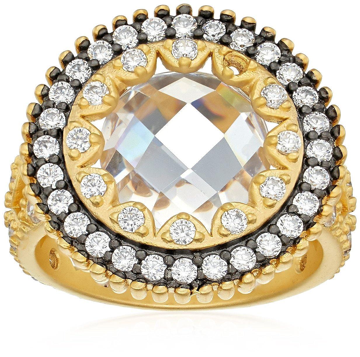 Freida Rothman Womens Signature Round Crown Edge Ring Black & Gold Size 6 YRZR090018B-6