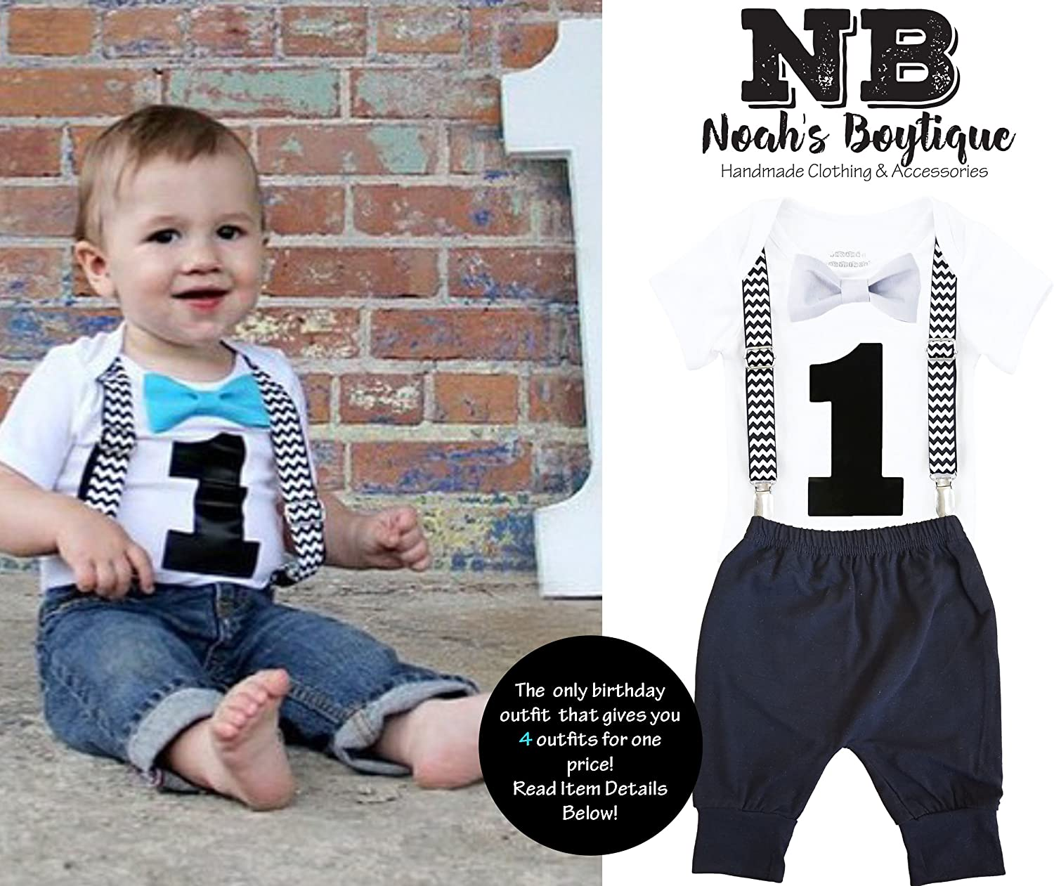d12dadd68 Amazon.com  Noah s Boytique 1st Birthday Outfit Bow and Suspenders Black  Chevron Sets  Clothing