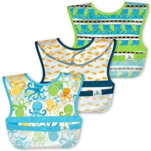 green sprouts Snap & Go Wipe-Off Bibs (3 Pk)   Waterproof Protection for Messy Eaters   Neatly Rolls Up for Mess & Utensil Storage, Flipped Pocket Stays Extended to Catch Spills, Easy Clean, Aqua