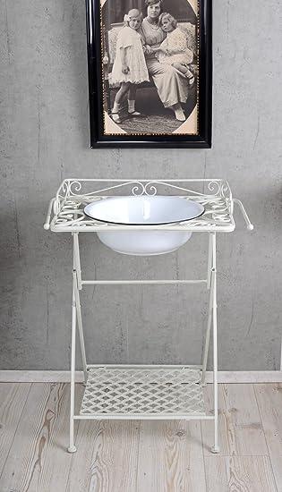 Waschtisch antik küche  Waschtisch Antik Tisch & Emaille Schüssel Waschbecken Weiss ...
