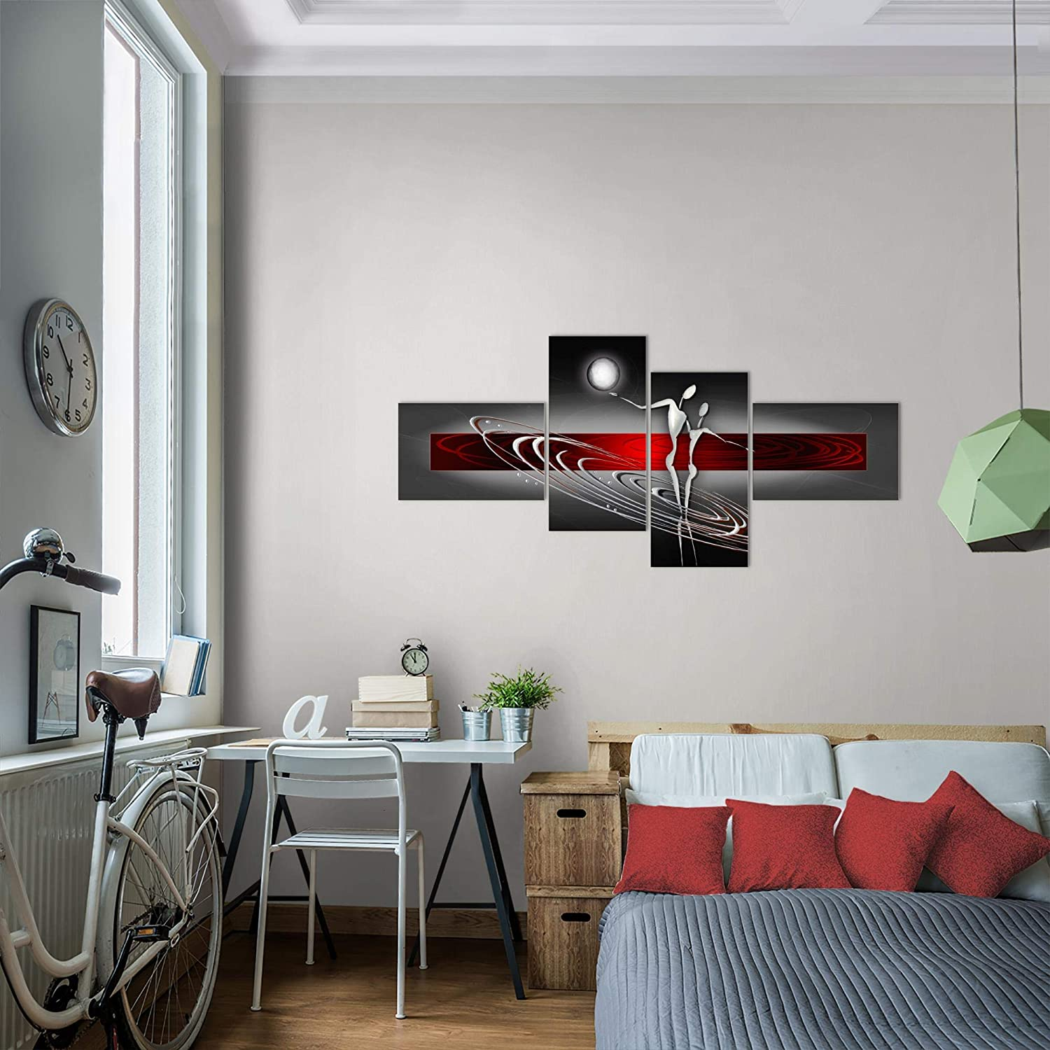 Taille XXL Salon Appartement D/écoration Photos dart Rouge 4 Parties MADE IN GERMANY pr/êt /à accrocher 301245a Photo Figures abstraites D/écoration Murale 150 x 60 cm Toison