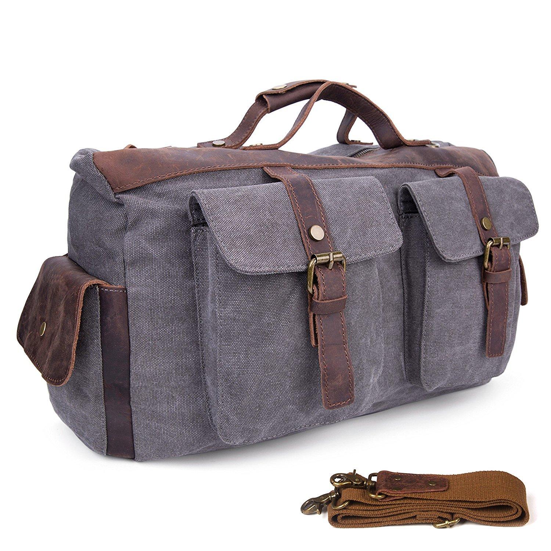 Bolsa de viaje de cuero de gran tamaño de lona para fines de semana o noches lienzo bolso bolsa de hombro-Gris