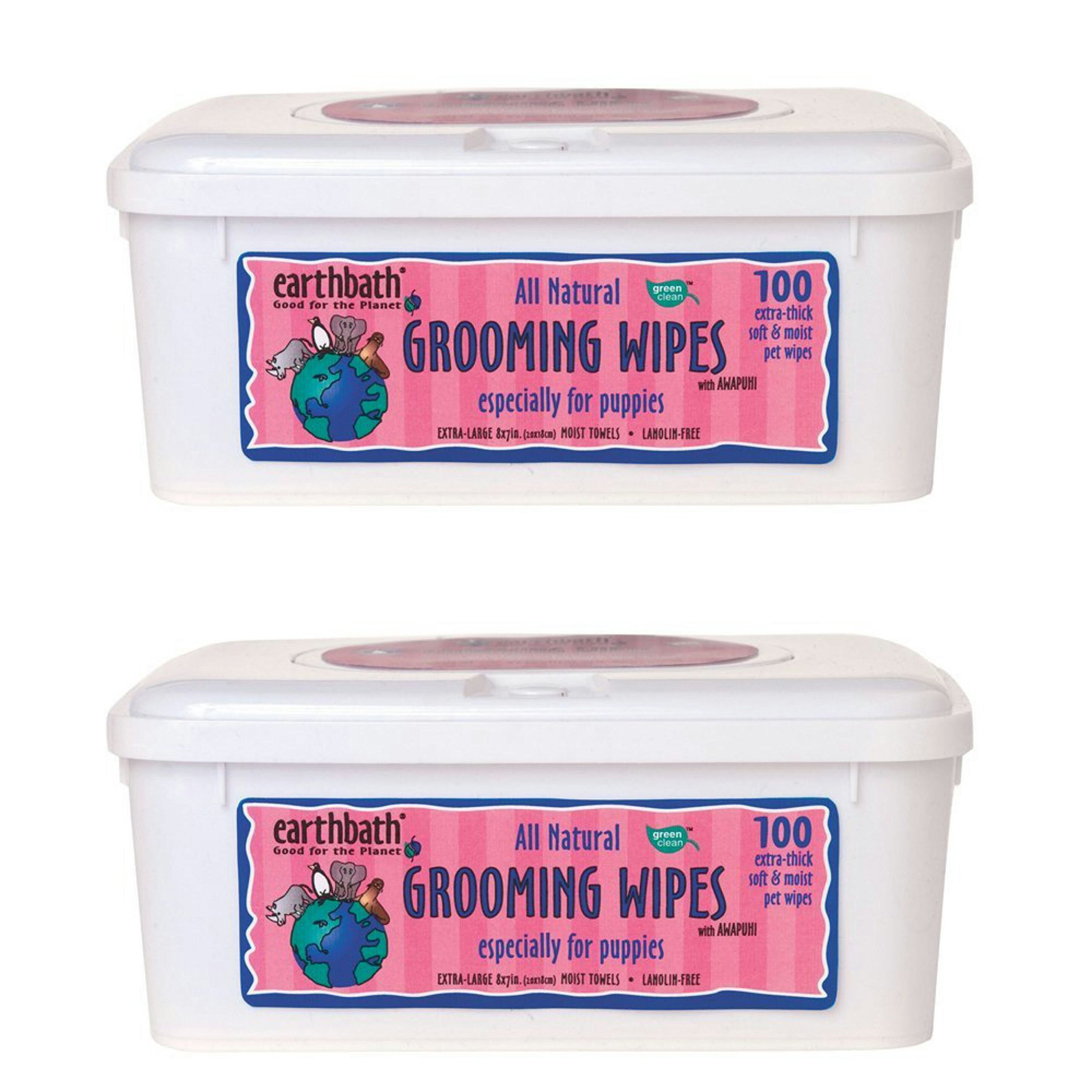 Earthbath All Natural Grooming Wipes, Puppy - Pack of 2