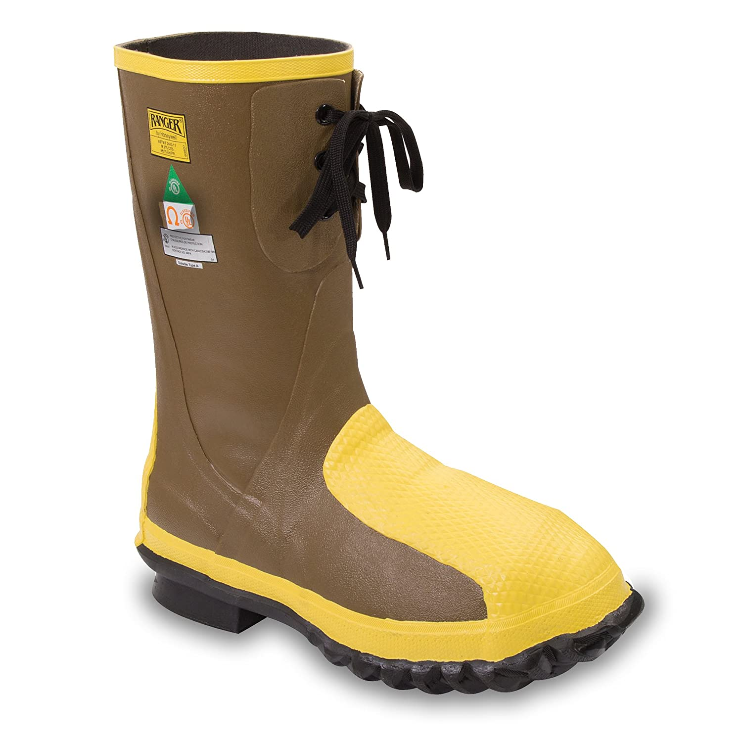 Ranger Flex-Guard Safety Pac 16 Heavy Duty Men's Rubber Metatarsal Boots with Steel Toe and Steel Midsole, Olive/Yellow & Black (2169) Sperian Protection Group 2169-ODM-050