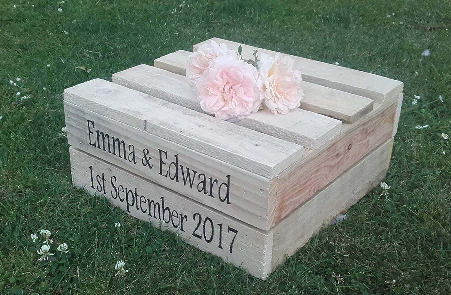14' Square Wooden Rustic Wedding Cake Stand - Personalised - 1 or 2 tier