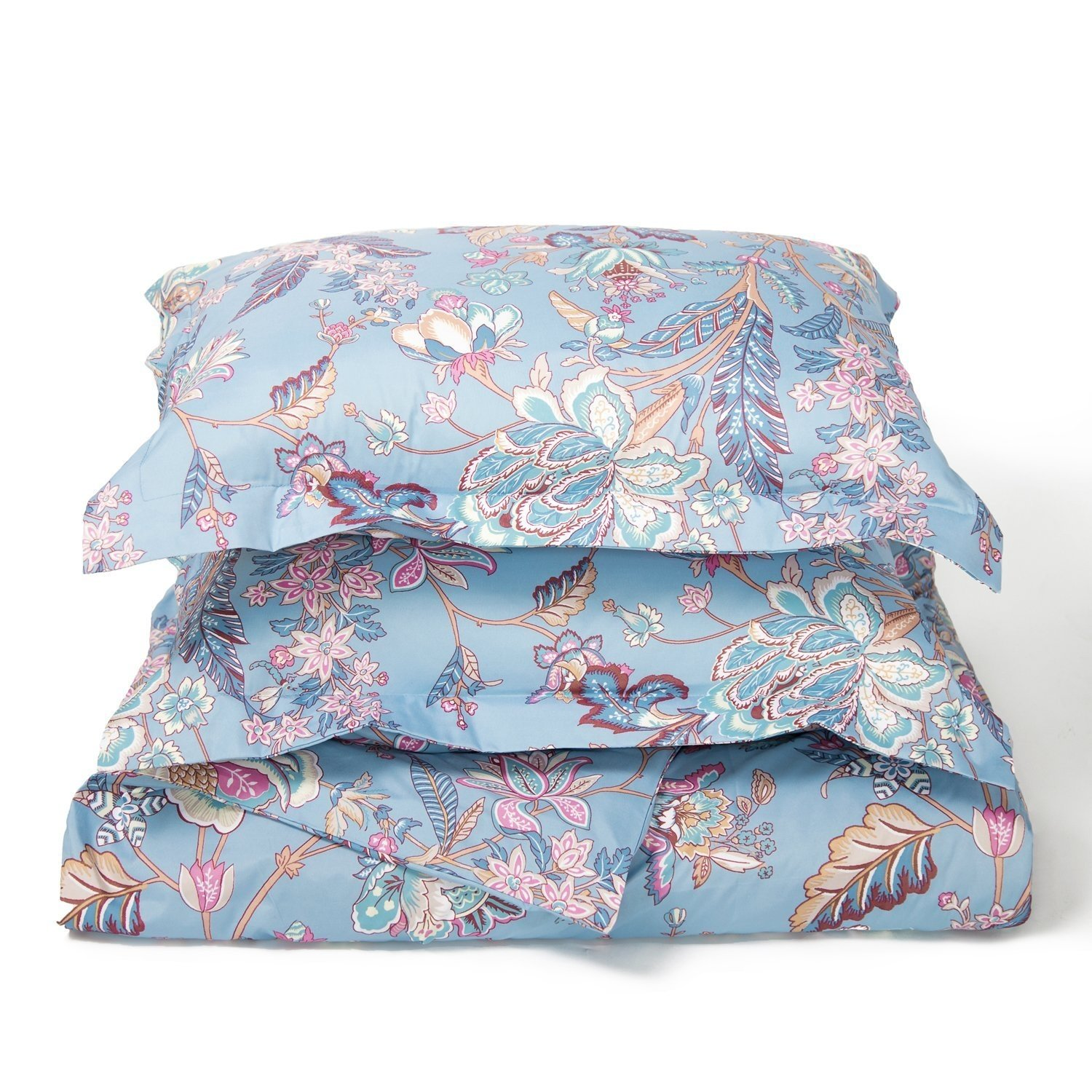3 Piece Duvet Cover Set with Zipper Closure-Printed Blue Floral Reversible Design,Full/Queen (90\