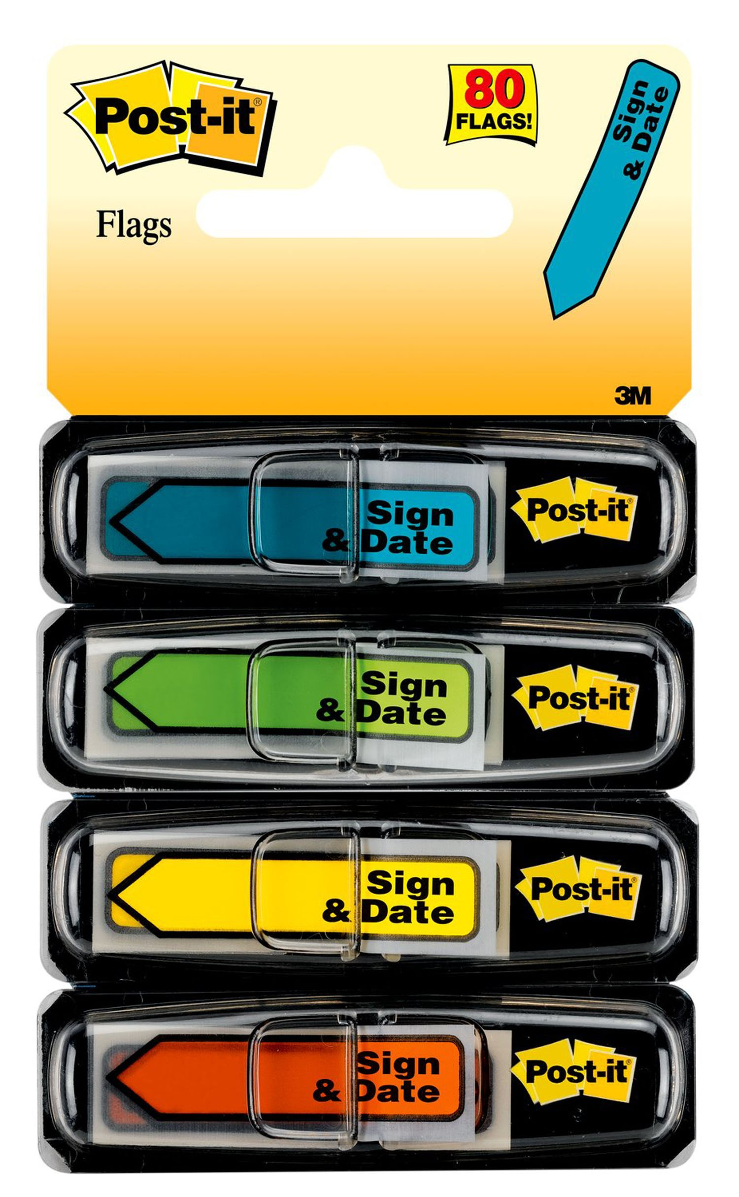 Post-it Message Flags,''Sign and Date'', Assorted Colors.47 in. Wide, 30/Dispenser, 4 Dispensers/Pack, (684-SD)