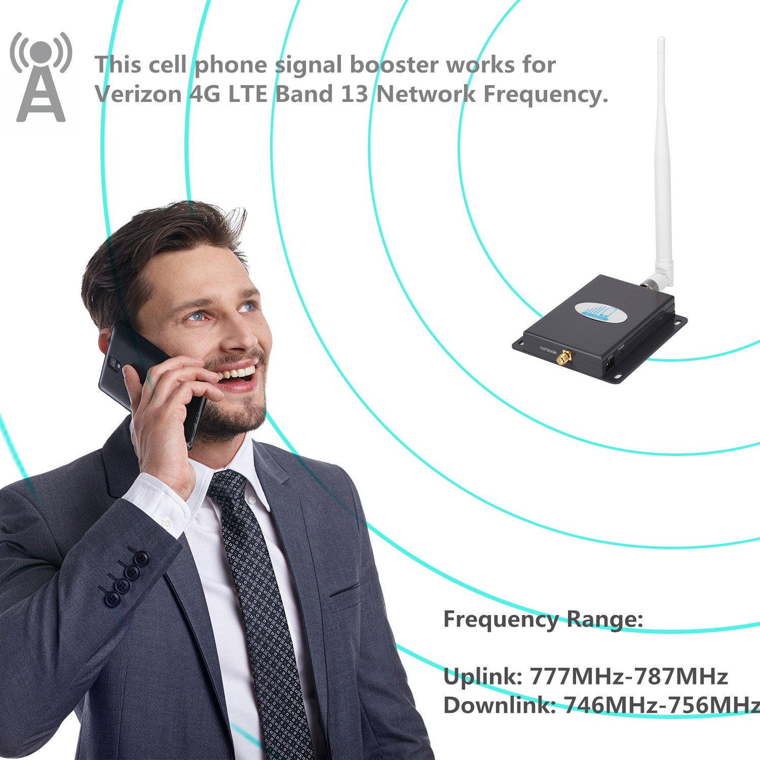 Cell Phone Signal Booster 4G Lte Verizon Cell signal Booster HJCINTL High Gain 65dB Band13 700MHz Home Mobile Phone Signal Booster Amplifier with Yagi/Whip by HJCINTL (Image #3)