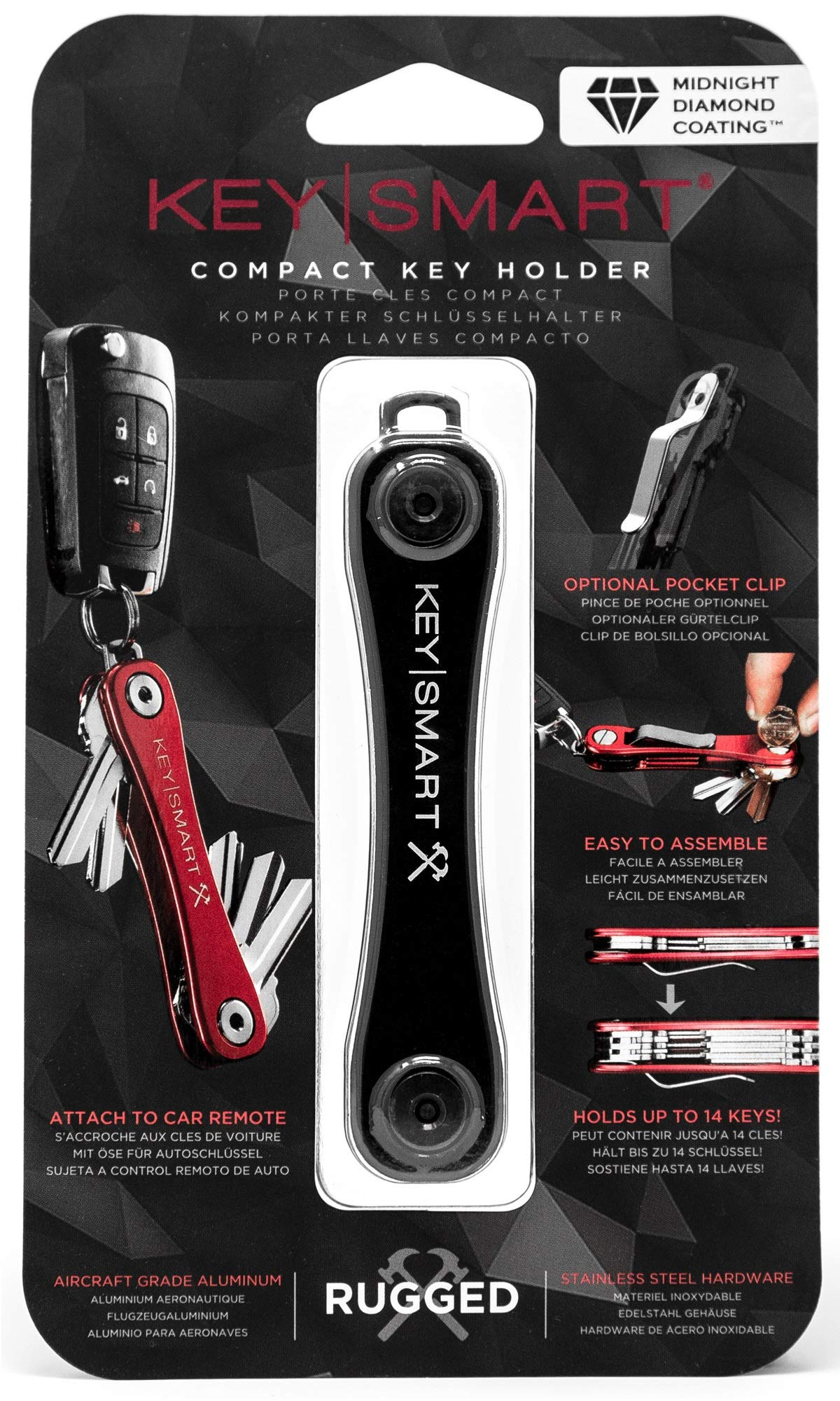 KeySmart Rugged - Multi-Tool Key Holder with Bottle Opener and Pocket Clip (up to 14 Keys, Midnight Diamond)